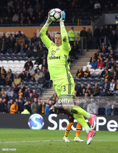 Jordan Pickford of Sunderland clasps the ball during the Premier League match between Hull City and Sunderland at KCOM Stadium on May 6 2017 in Hull...