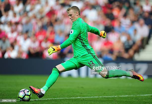 Jordan Pickford of Sunderland during the Premier League match between Southampton and Sunderland at St Mary's Stadium on August 27 2016 in...