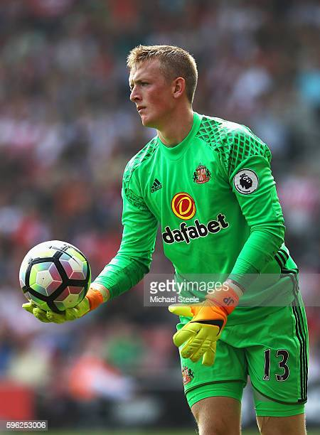 Jordan Pickford of Sunderland in action during the Premier League match between Southampton and Sunderland at St Mary's Stadium on August 27 2016 in...