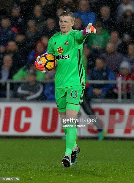 Jordan Pickford of Sunderland in action during the Premier League match between Swansea City and Sunderland at The Liberty Stadium on December 10...