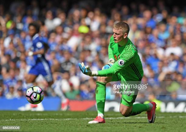 Jordan Pickford of Sunderland in action during the Premier League match between Chelsea and Sunderland at Stamford Bridge on May 21 2017 in London...