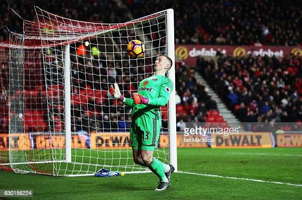 Jordan Pickford of Sunderland is seen during the Premier League match between Sunderland and Watford at Stadium of Light on December 17 2016 in...