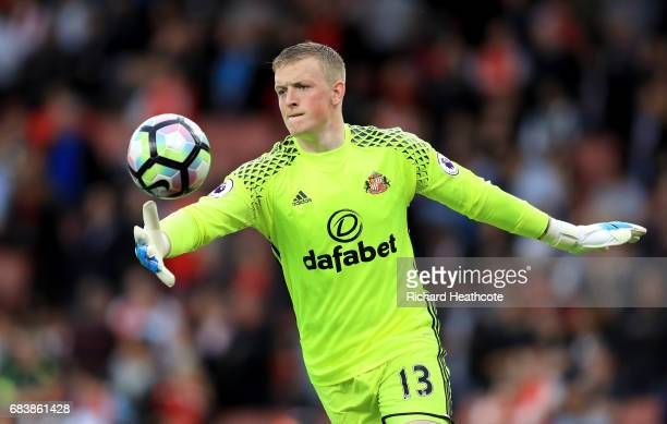 Jordan Pickford of Sunderland kick the ball during the Premier League match between Arsenal and Sunderland at Emirates Stadium on May 16 2017 in...