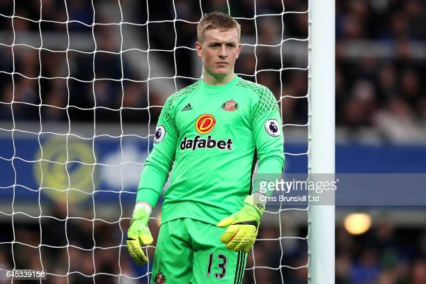 Jordan Pickford of Sunderland looks on during the Premier League match between Everton and Sunderland at Goodison Park on February 25 2017 in...
