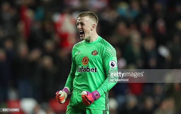 Jordan Pickford of Sunderland reacts at the final whistle during the Premier League match between Sunderland and Watford at Stadium of Light on...