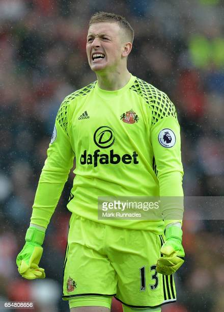 Jordan Pickford of Sunderland reacts during the Premier League match between Sunderland and Burnley at Stadium of Light on March 18 2017 in...