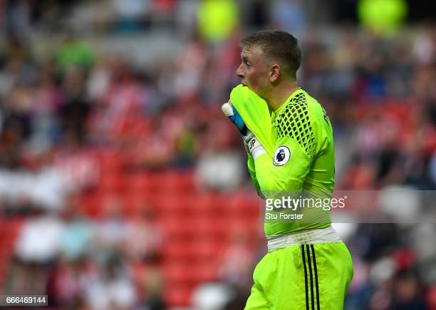 Jordan Pickford of Sunderland reacts during the Premier League match between Sunderland and Manchester United at Stadium of Light on April 9 2017 in...