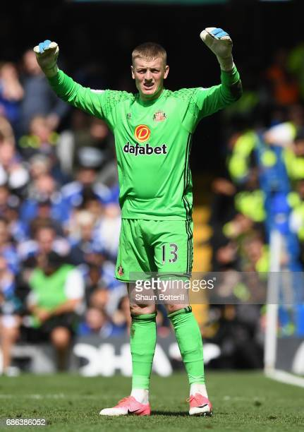 Jordan Pickford of Sunderland reacts during the Premier League match between Chelsea and Sunderland at Stamford Bridge on May 21 2017 in London...