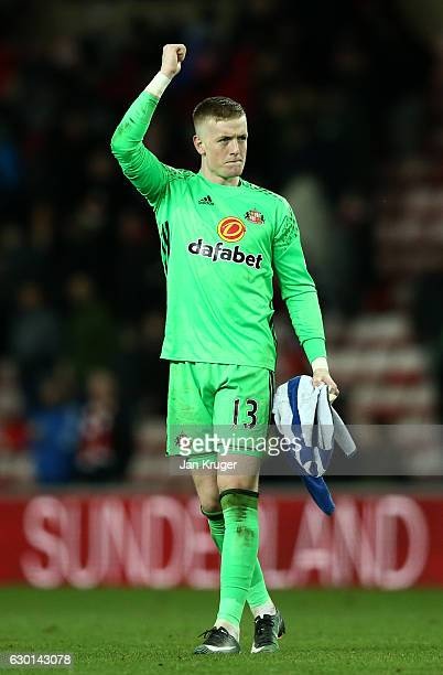 Jordan Pickford of Sunderland shows appreciation to the fans after the final whistle during the Premier League match between Sunderland and Watford...
