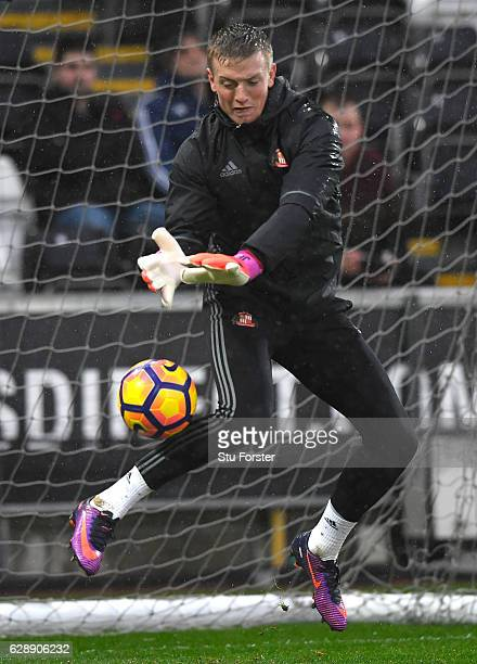 Jordan Pickford of Sunderland warms up prior to kick off during the Premier League match between Swansea City and Sunderland at the Liberty Stadium...