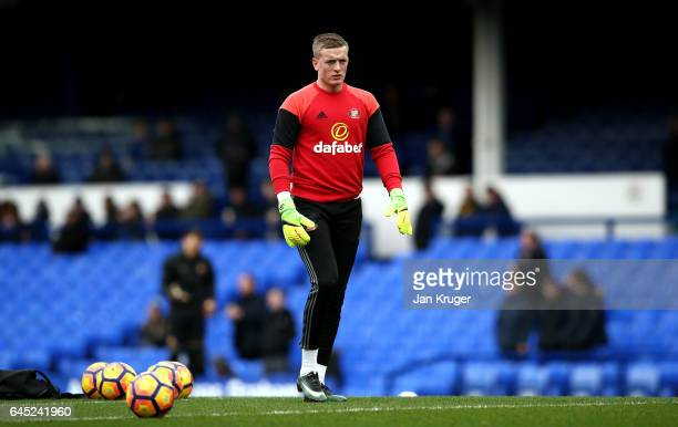 Jordan Pickford of Sunderland warms up prior to the Premier League match between Everton and Sunderland at Goodison Park on February 25 2017 in...