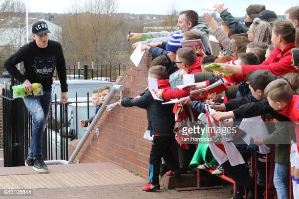 Jordan Pickford signs autographs during a Sunderland Open Training Session at the Stadium of Light on February 20 2017 in Sunderland England