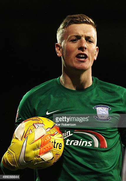 Jordan Pickford the Preston North End goalkeeper reacts during the Sky Bet Championship match between Fulham and Preston North End at Craven Cottage...