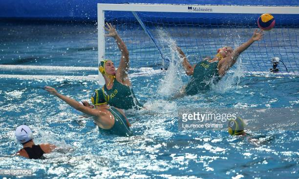 Jordan Raney of The United States scores during the Women's Water Polo Quarter final match against Australia on day eleven of the Budapest 2017 FINA...