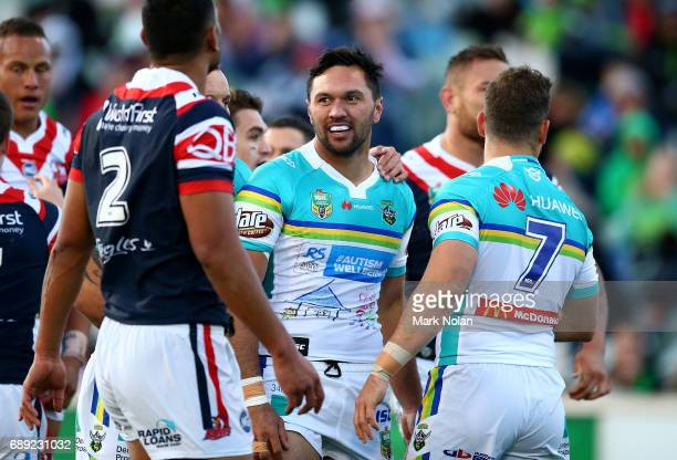 Jordan Rapana of the Raiders celebrates a try during the round 12 NRL match between the Canberra Raiders and the Sydney Roostrers at GIO Stadium on...