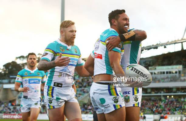 Jordan Rapana of the Raiders celebrtaes scoring a try during the round 12 NRL match between the Canberra Raiders and the Sydney Roostrers at GIO...