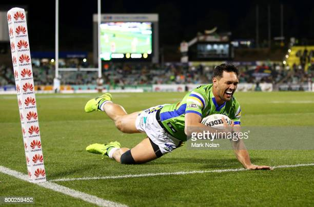Jordan Rapana of the Raiders crosses the line only to have the try disallowed during the round 16 NRL match between the Canberra Raiders and the...