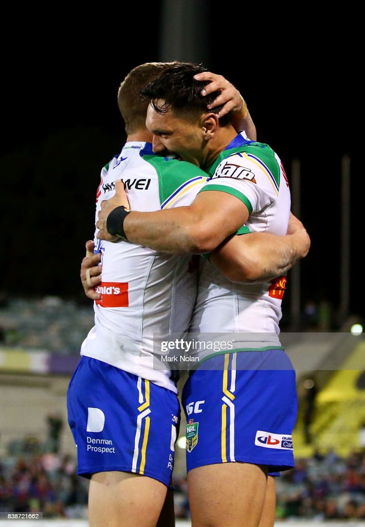 Jordan Rapana of the Raiders is congratulated after scoring during the round 25 NRL match between the Canberra Raiders and the Newcastle Knights at GIO Stadium on August 25, 2017 in Canberra, Australia.