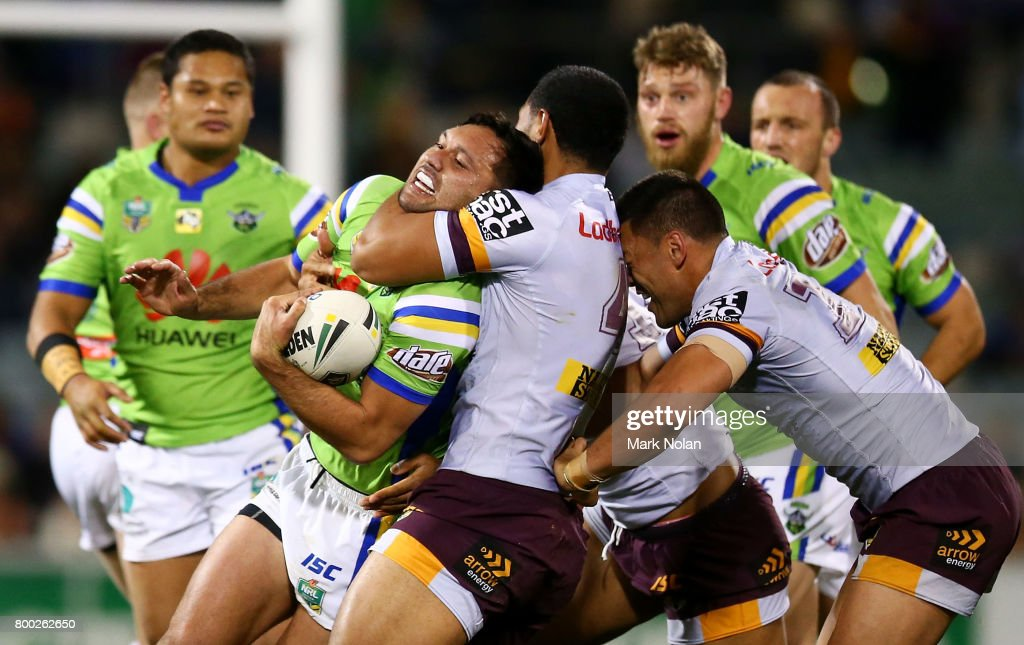Jordan Rapana of the Raiders is tackled high during the round 16 NRL match between the Canberra Raiders and the Brisbane Broncos at GIO Stadium on June 24, 2017 in Canberra, Australia.
