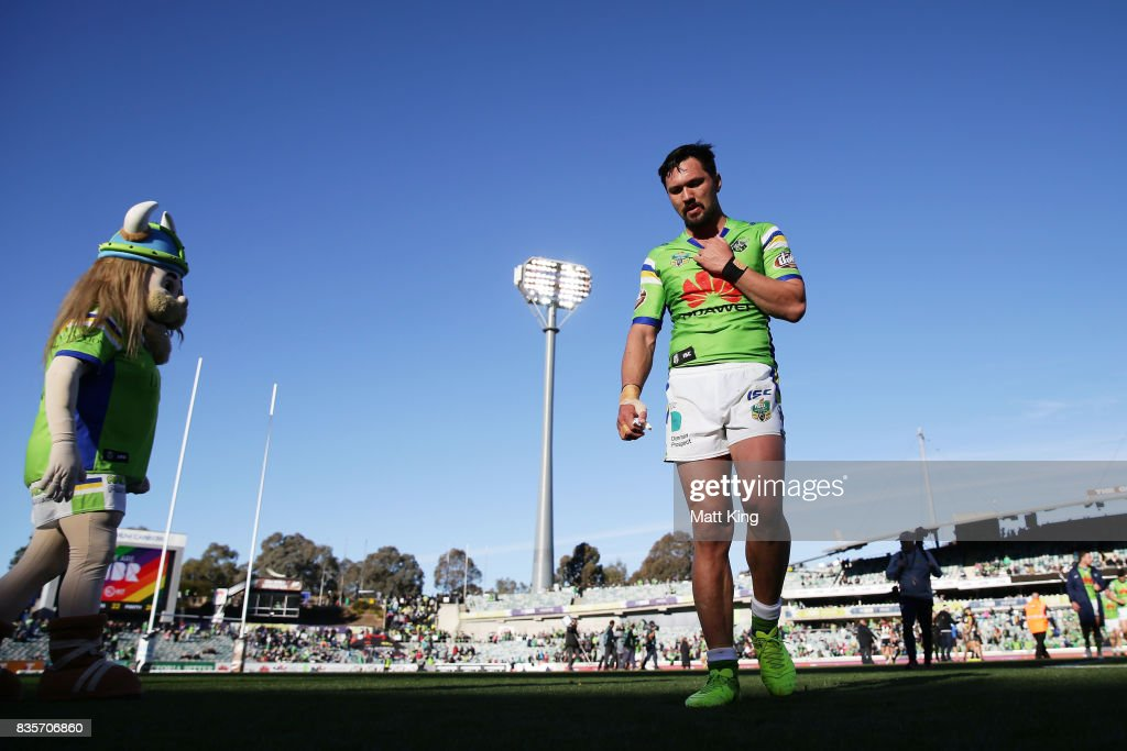Jordan Rapana of the Raiders looks dejected as he leaves the field at fulltime during the round 24 NRL match between the Canberra Raiders and the Penrith Panthers at GIO Stadium on August 20, 2017 in Canberra, Australia.