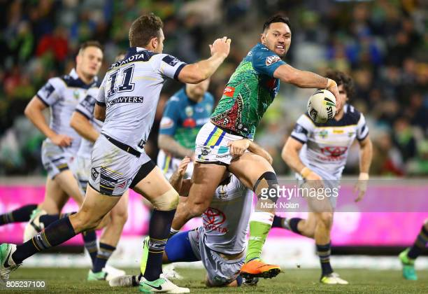 Jordan Rapana of the Raiders looks to offload during the round 17 NRL match between the Canberra Raiders and the North Queensland Cowboys at GIO...