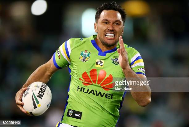 Jordan Rapana of the Raiders makes a line break during the round 16 NRL match between the Canberra Raiders and the Brisbane Broncos at GIO Stadium on...