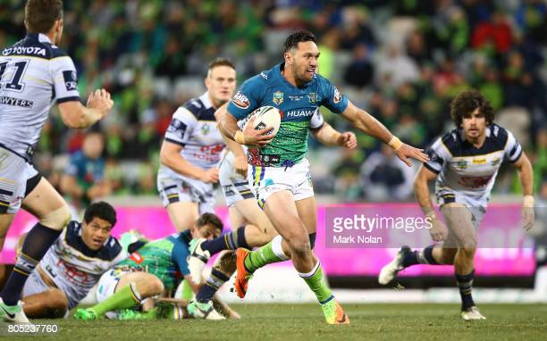 Jordan Rapana of the Raiders makes a line break during the round 17 NRL match between the Canberra Raiders and the North Queensland Cowboys at GIO...