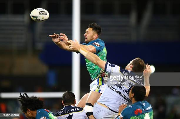 Jordan Rapana of the Raiders taps down a short kick off during the round 17 NRL match between the Canberra Raiders and the North Queensland Cowboys...