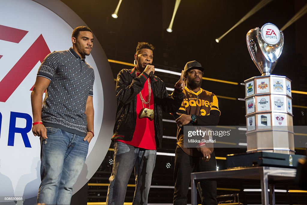 Jordan Reed and Eric Berry get ready to face each other in Madden Bowl XXII at Nob Hill Masonic Center on February 4, 2016 in San Francisco, California.