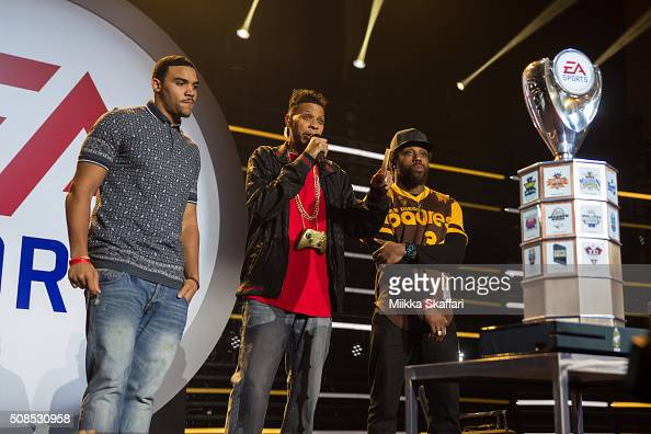 Jordan Reed and Eric Berry get ready to face each other in Madden Bowl XXII at Nob Hill Masonic Center on February 4 2016 in San Francisco California