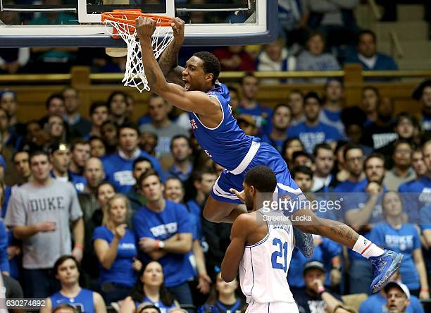 Jordan Reed of the Tennessee State Tigers dunks the ball while Amile Jefferson of the Duke Blue Devils watches on during their game at Cameron Indoor...