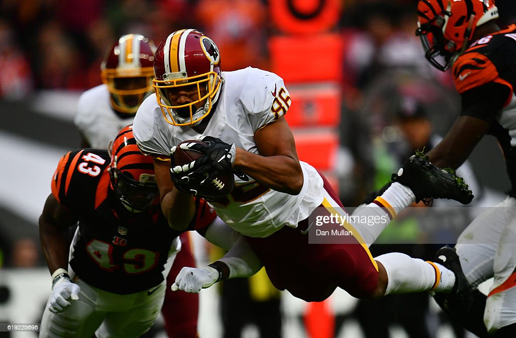 Jordan Reed #86 of the Washington Redskins dives over to score a touchdown during the NFL International Series Game between Washington Redskins and Cincinnati Bengals at Wembley Stadium on October 30, 2016 in London, England.