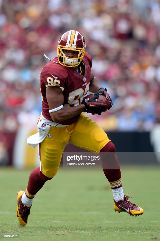 Jordan Reed #86 of the Washington Redskins runs up field with the ball during a game against the Detroit Lions at FedExField on September 22, 2013 in Landover, Maryland.