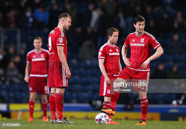 Jordan Rhodes and David Nugent of Middlesbrough look on after conceding the opening goal during the Sky Bet Championship match between Blackburn...