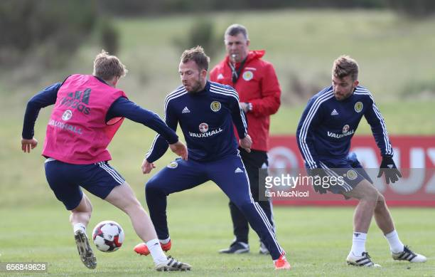 Jordan Rhodes is seen during a training session at Mar Hall on March 23 2017 in Erskine Scotland