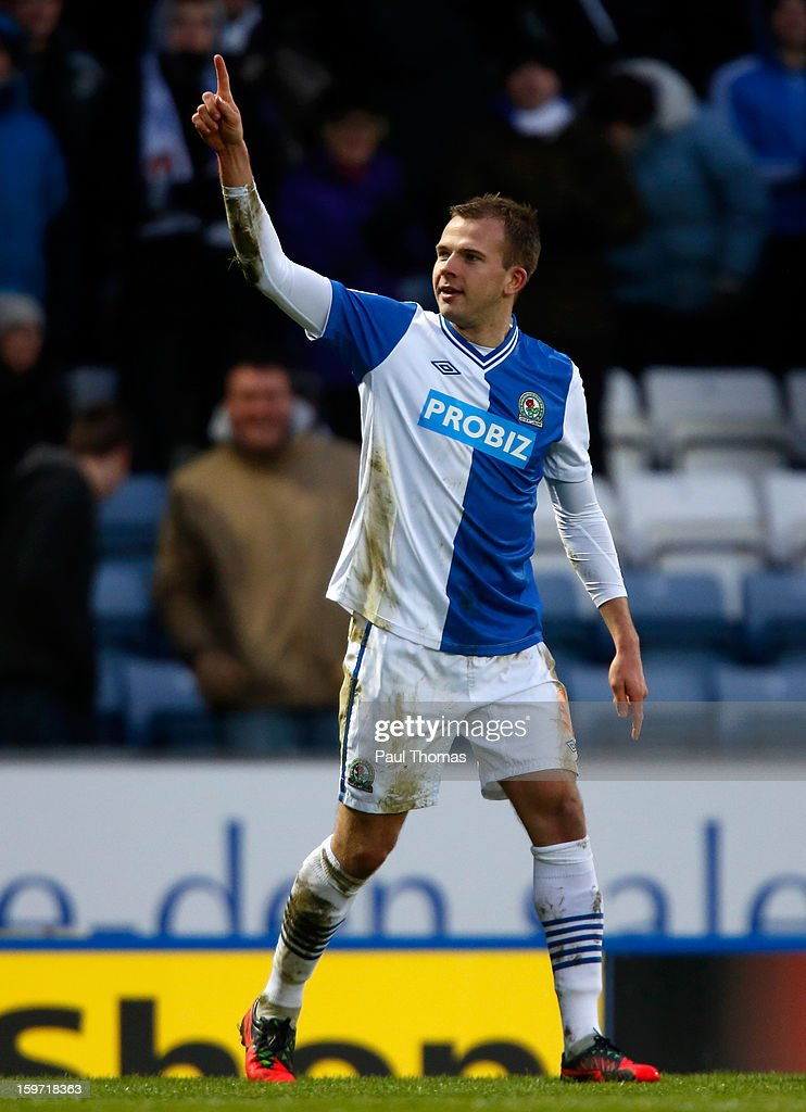 Jordan Rhodes of Blackburn celebrates his goal during the npower Championship match between Blackburn Rovers and Charlton Athletic at Ewood Park on January 19, 2013 in Blackburn, England.