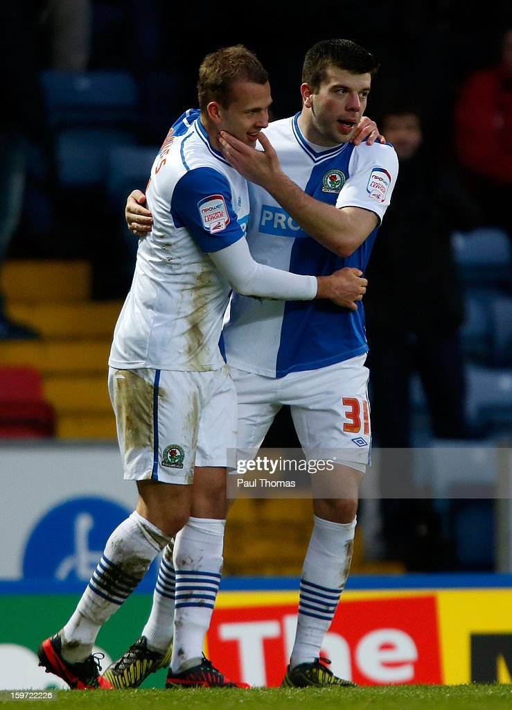 Jordan Rhodes of Blackburn celebrates his goal with team-mate <a gi-track='captionPersonalityLinkClicked' href=/galleries/search?phrase=Grant+Hanley&family=editorial&specificpeople=6528826 ng-click='$event.stopPropagation()'>Grant Hanley</a> (R) during the npower Championship match between Blackburn Rovers and Charlton Athletic at Ewood Park on January 19, 2013 in Blackburn, England.