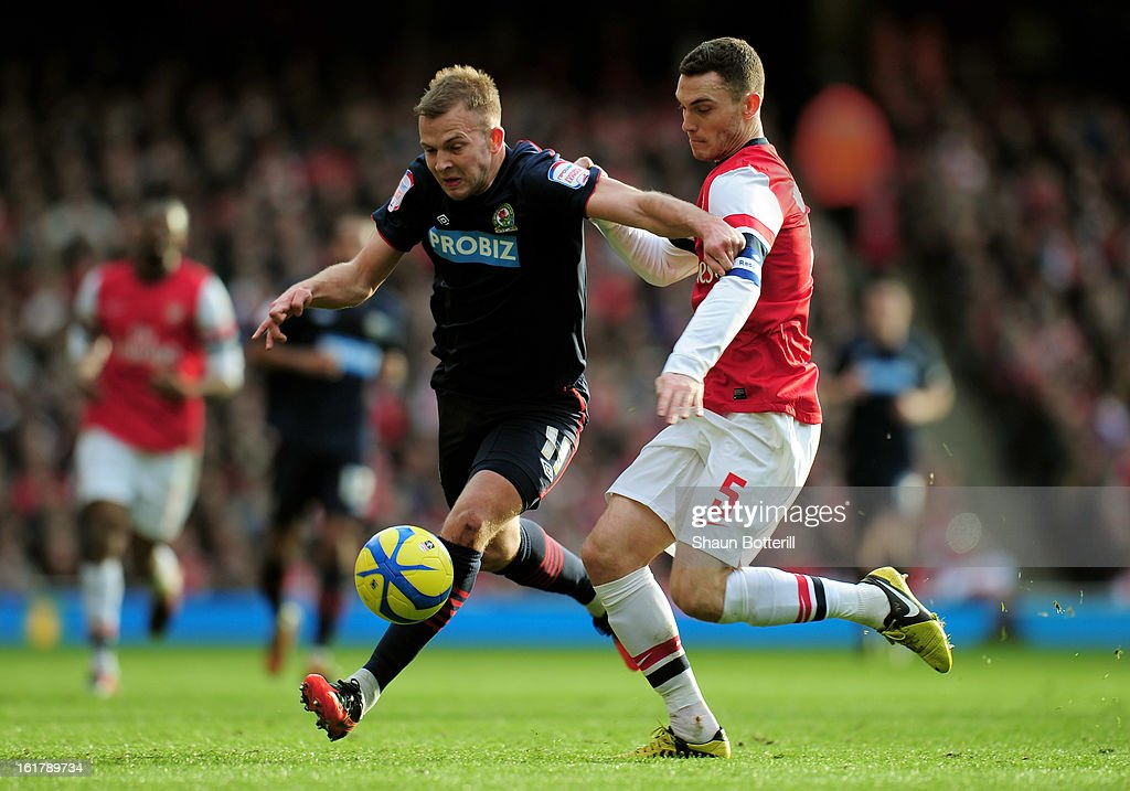 Jordan Rhodes of Blackburn is challenged by Thomas Vermaelen of Arsenal during the FA Cup with Budweiser fifth round match between Arsenal and Blackburn Rovers at Emirates Stadium on February 16, 2013 in London, England.