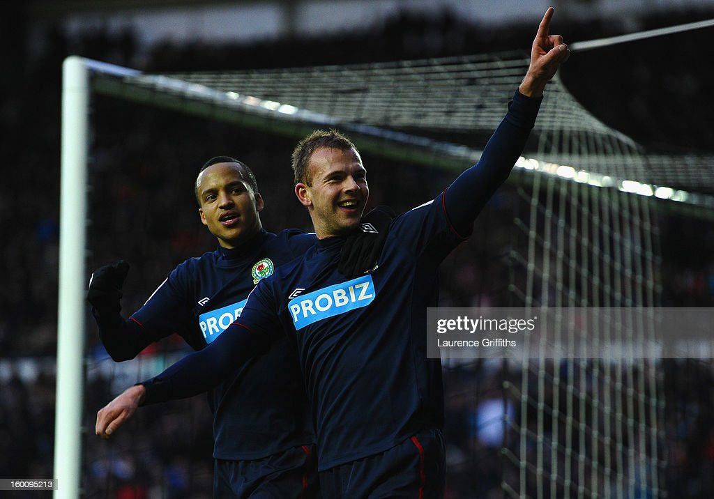 Jordan Rhodes of Blackburn Rovers celebrates the third goal with <a gi-track='captionPersonalityLinkClicked' href=/galleries/search?phrase=Martin+Olsson&family=editorial&specificpeople=4185617 ng-click='$event.stopPropagation()'>Martin Olsson</a> during the FA Cup with Budweiser Fourth Round match between Derby County and Blackburn Rovers at Pride Park Stadium on January 26, 2013 in Derby, England.