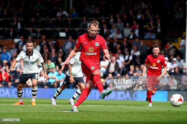 Jordan Rhodes of Blackburn Rovers scores from the penalty spot during the Sky Bet Football League Championship match between Fulham and Blackburn...