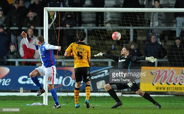 Jordan Rhodes of Blackburn Rovers scores his sides second goal during the Emirates FA Cup Third Round match between Newport County and Blackburn...