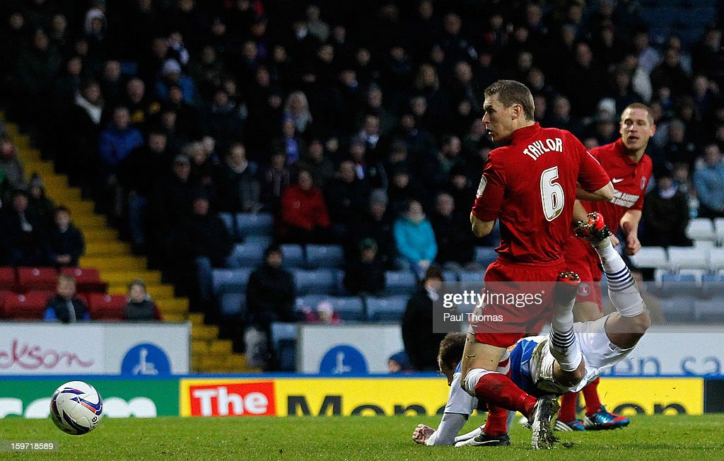 Jordan Rhodes (R) of Blackburn scores his side's first goal during the npower Championship match between Blackburn Rovers and Charlton Athletic at Ewood Park on January 19, 2013 in Blackburn, England.