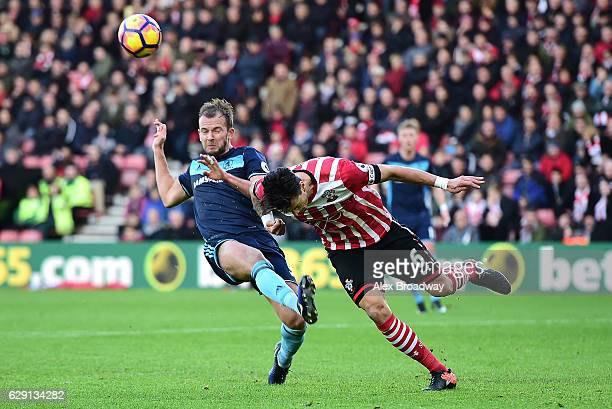 Jordan Rhodes of Middlesbrough and Jose Fonte of Southampton in action during the Premier League match between Southampton and Middlesbrough at St...