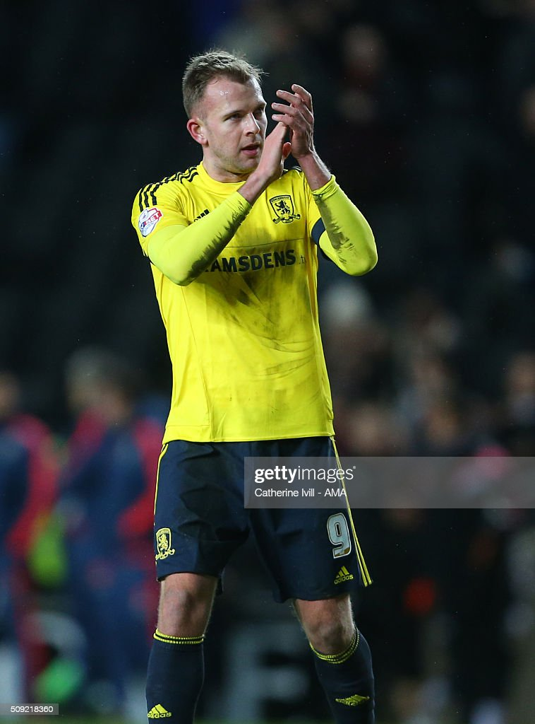 Jordan Rhodes of Middlesbrough applauds after the Sky Bet Championship match between MK Dons and Middlesbrough at Stadium mk on February 9, 2016 in Milton Keynes, England.
