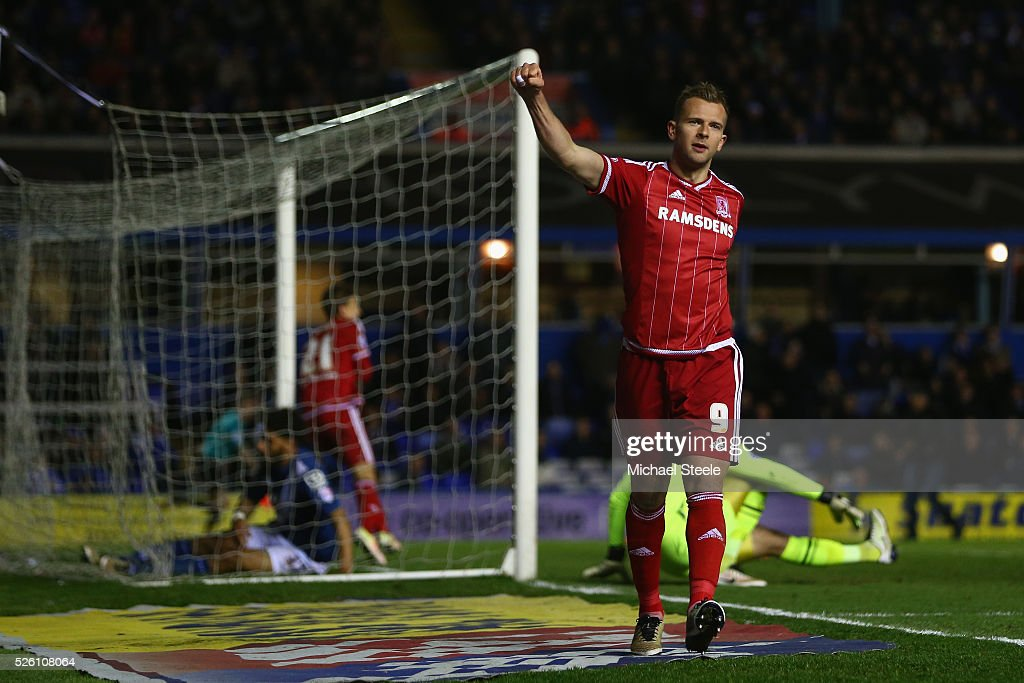 Jordan Rhodes of Middlesbrough celebrate his sides second goal scored by Gaston Ramirez during the Sky Bet Championship match between Birmingham City and Middlesbrough at St Andrews on April 29, 2016 in Birmingham, United Kingdom.