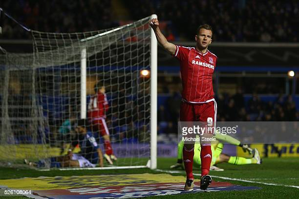 Jordan Rhodes of Middlesbrough celebrate his sides second goal scored by Gaston Ramirez during the Sky Bet Championship match between Birmingham City...