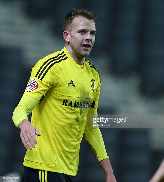 Jordan Rhodes of Middlesbrough celebrates after scoring his sides goal during the Sky Bet Championship match between Milton Keynes Dons and...