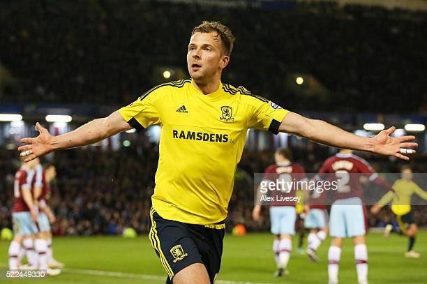 Jordan Rhodes of Middlesbrough celebrates after scoring the opening goal during the Sky Bet Championship match between Burnley and Middlesbrough at...