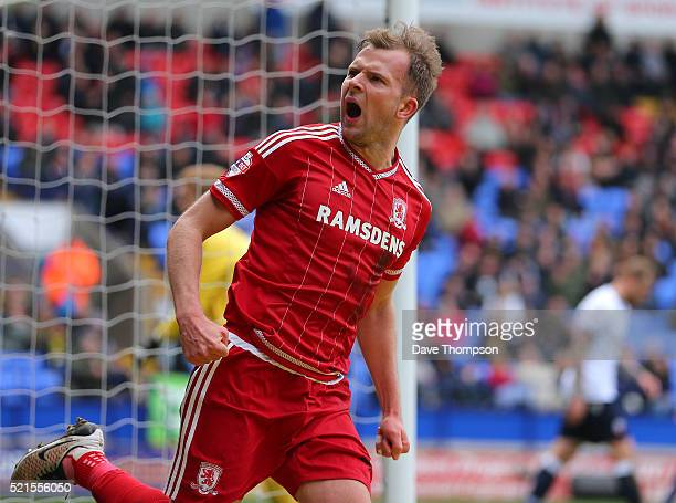 Jordan Rhodes of Middlesbrough celebrates scoring his side's first goal of the match during the Sky Bet Championship match between Bolton Wanderers...