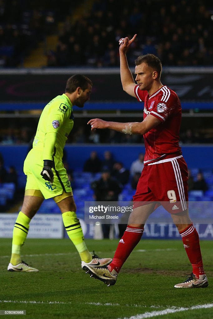 <a gi-track='captionPersonalityLinkClicked' href=/galleries/search?phrase=Jordan+Rhodes+-+Soccer+Player&family=editorial&specificpeople=12860183 ng-click='$event.stopPropagation()'>Jordan Rhodes</a> of Middlesbrough celebrates scoring his sides opening goal during the Sky Bet Championship match between Birmingham City and Middlesbrough at St Andrews on April 29, 2016 in Birmingham, United Kingdom.